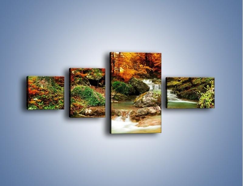 Obraz na płótnie – Jesienne kolory w lesie – czteroczęściowy KN1094AW5