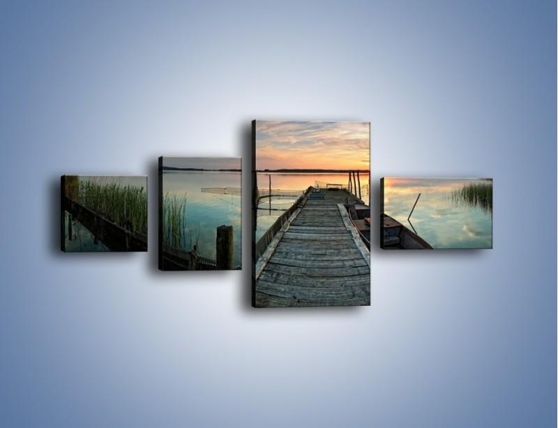 Obraz na płótnie – Stary most i łódź – czteroczęściowy KN1096AW5