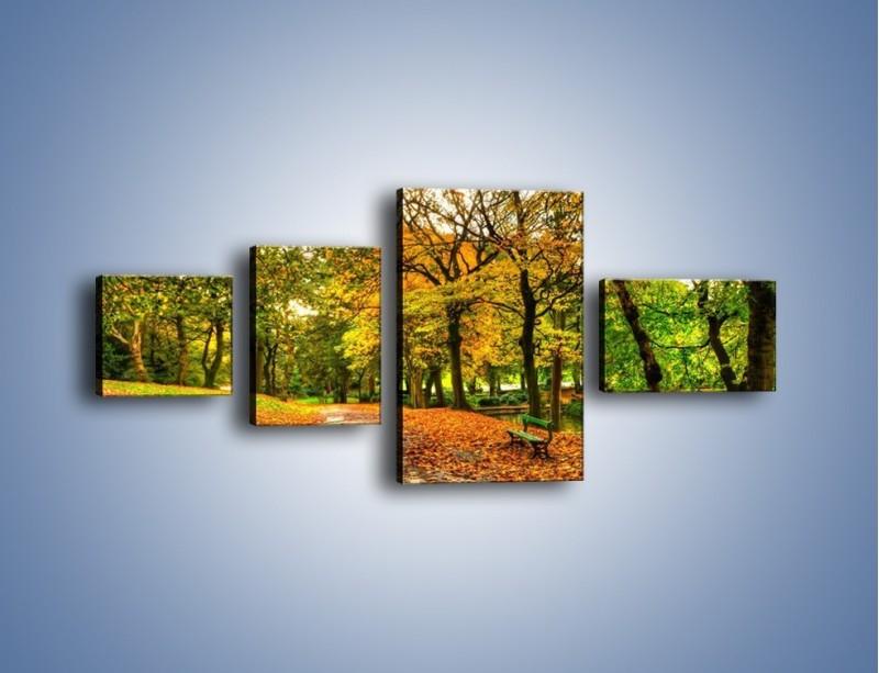 Obraz na płótnie – Piękna jesień w parku – czteroczęściowy KN1098AW5