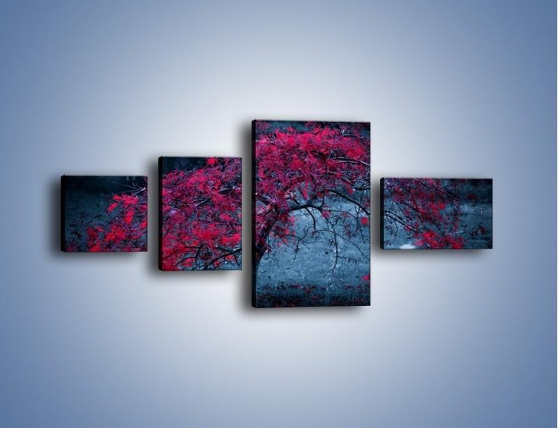Obraz na płótnie – Czerwone płaczące drzewo – czteroczęściowy KN1101AW5