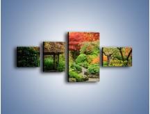 Obraz na płótnie – Alejka między kolorowymi drzewami – czteroczęściowy KN1113W5
