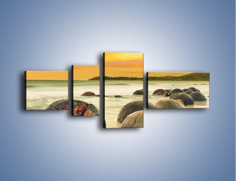 Obraz na płótnie – Popękane kamienne arbuzy – czteroczęściowy KN1125AW5