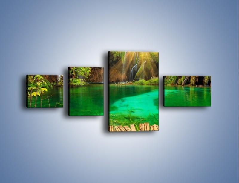 Obraz na płótnie – Zielone oczko wodne i drewno – czteroczęściowy KN1149AW5