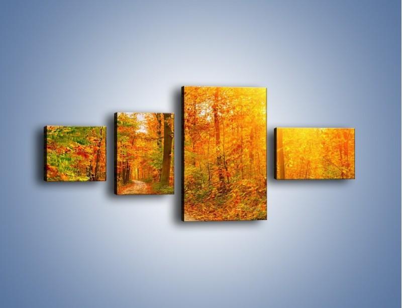 Obraz na płótnie – Leśną drużką jesienią – czteroczęściowy KN1163AW5