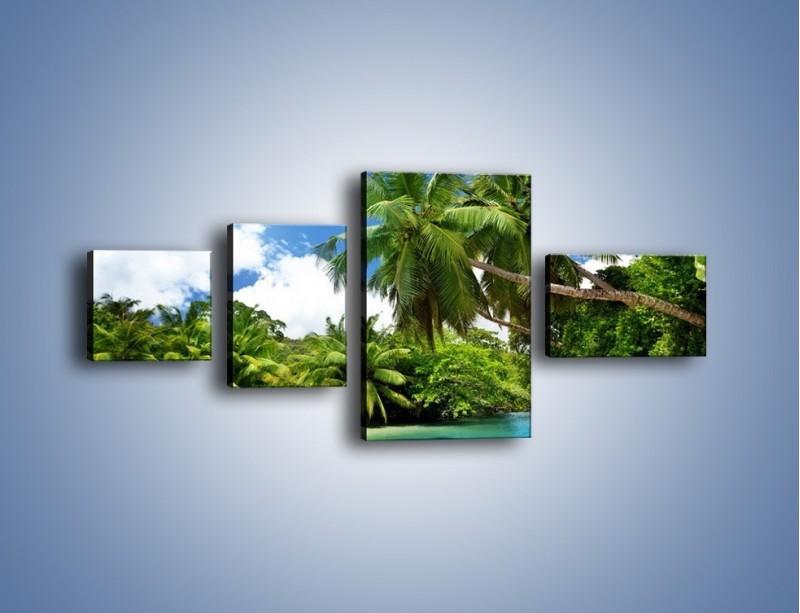 Obraz na płótnie – Rozłożone palmy i woda – czteroczęściowy KN1168AW5