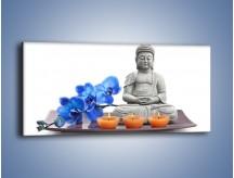 Obraz na płótnie – Budda i kwiat – jednoczęściowy panoramiczny K593