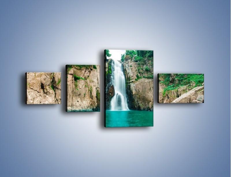 Obraz na płótnie – Skok ze skarpy do wody – czteroczęściowy KN1184AW5