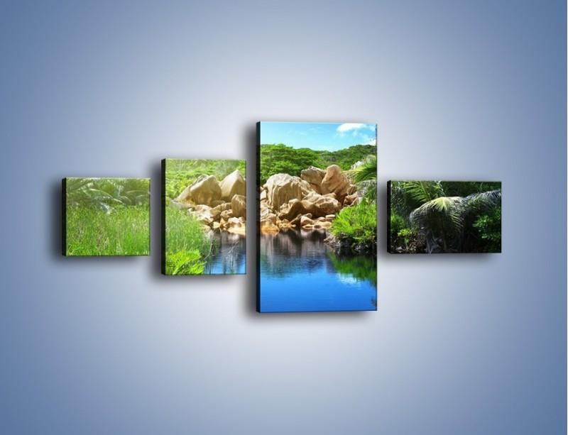 Obraz na płótnie – Wapienne skałki na wodzie – czteroczęściowy KN1188AW5