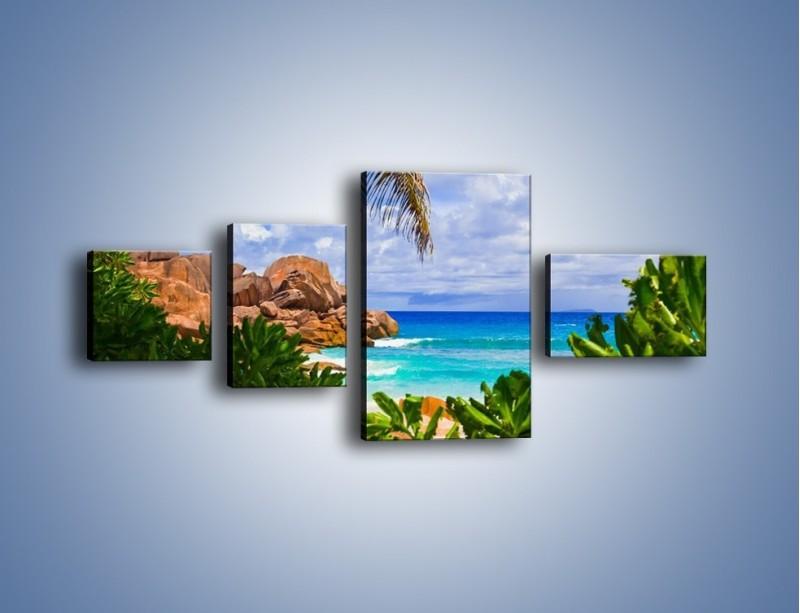 Obraz na płótnie – Urlop pod palmami – czteroczęściowy KN1191AW5
