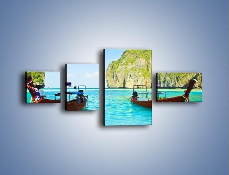 Obraz na płótnie – Taksówki wodne oczekujące na brzegu – czteroczęściowy KN120W5