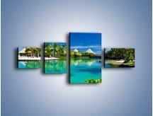 Obraz na płótnie – Biały piasek i palmy – czteroczęściowy KN1201AW5