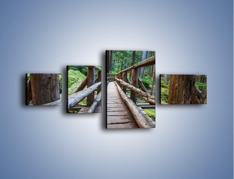 Obraz na płótnie – Mostek z drewnianych bali – czteroczęściowy KN1207AW5