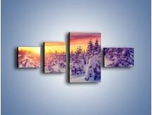 Obraz na płótnie – Choinki w śnieżnej szacie – czteroczęściowy KN1220AW5