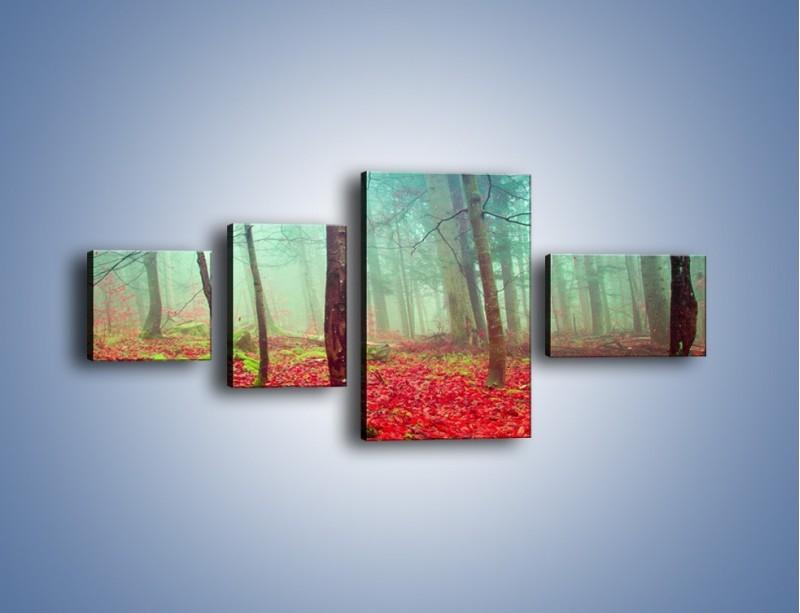 Obraz na płótnie – Drzewka na czerwonym dywanie – czteroczęściowy KN1222AW5