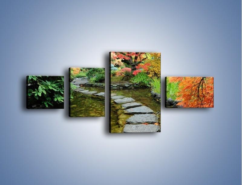 Obraz na płótnie – Skakać po kamieniach – czteroczęściowy KN1252AW5