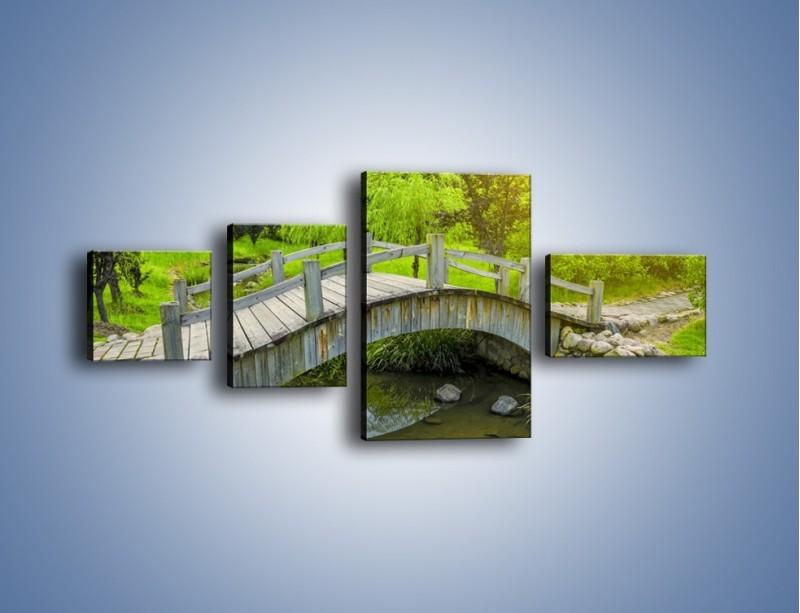 Obraz na płótnie – Mały mostek przez rzeczkę – czteroczęściowy KN1254AW5