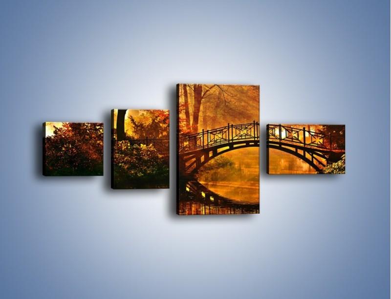 Obraz na płótnie – Cudowny spacer jesienną porą – czteroczęściowy KN1319AW5