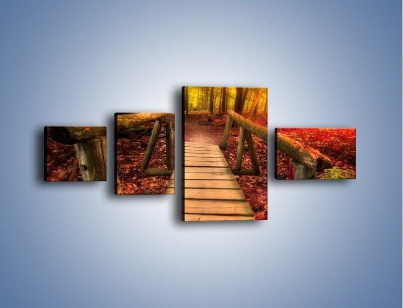 Obraz na płótnie – Krótkie przejście przez las – czteroczęściowy KN1330AW5