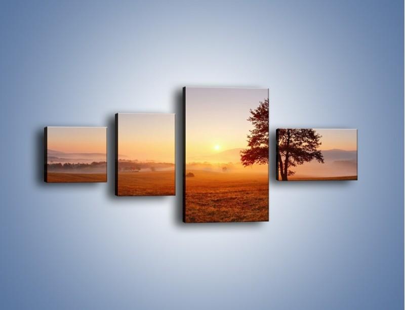 Obraz na płótnie – Krajobraz utopiony we mgle – czteroczęściowy KN1331AW5