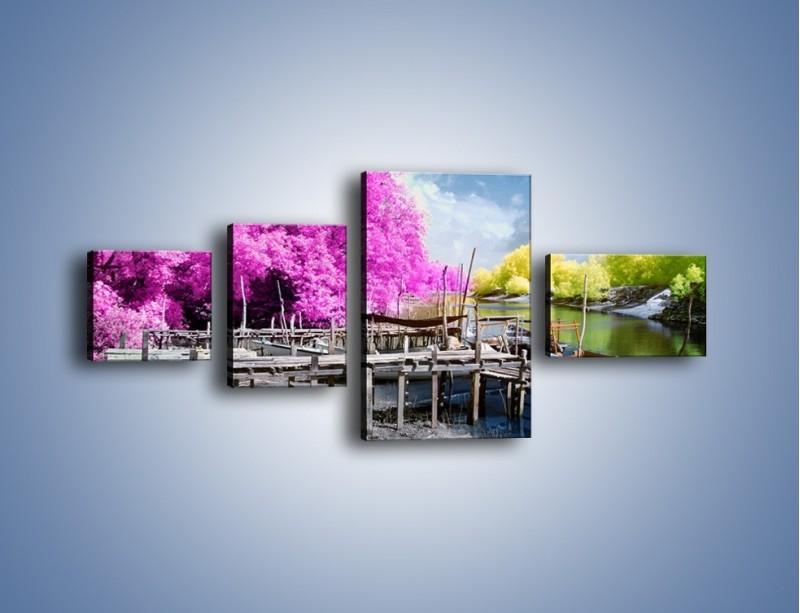 Obraz na płótnie – Wyraźne kolory w szarym tle – czteroczęściowy KN1334AW5