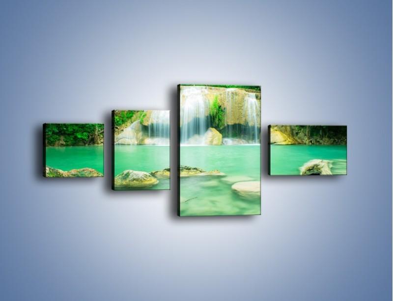 Obraz na płótnie – Jasne kamienie pod wodą – czteroczęściowy KN1340AW5