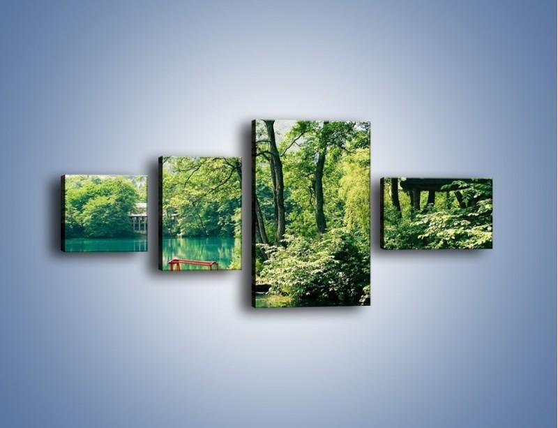 Obraz na płótnie – Wakacje nad jeziorem – czteroczęściowy KN155W5