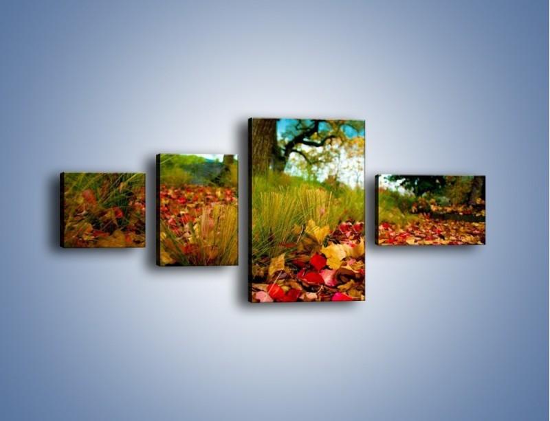 Obraz na płótnie – Droga usłana liśćmi – czteroczęściowy KN172W5