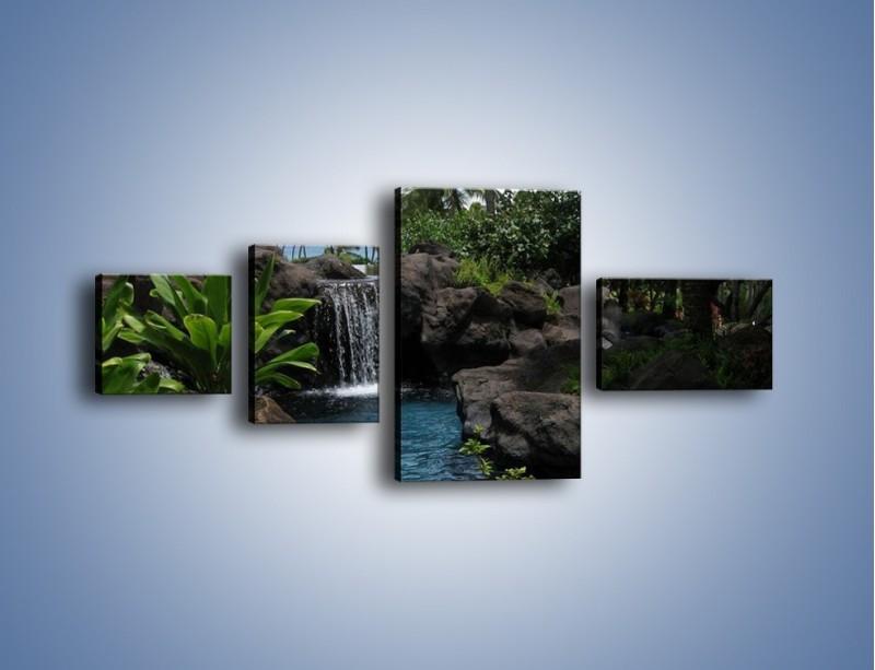Obraz na płótnie – Wodospad wśród palm – czteroczęściowy KN208W5