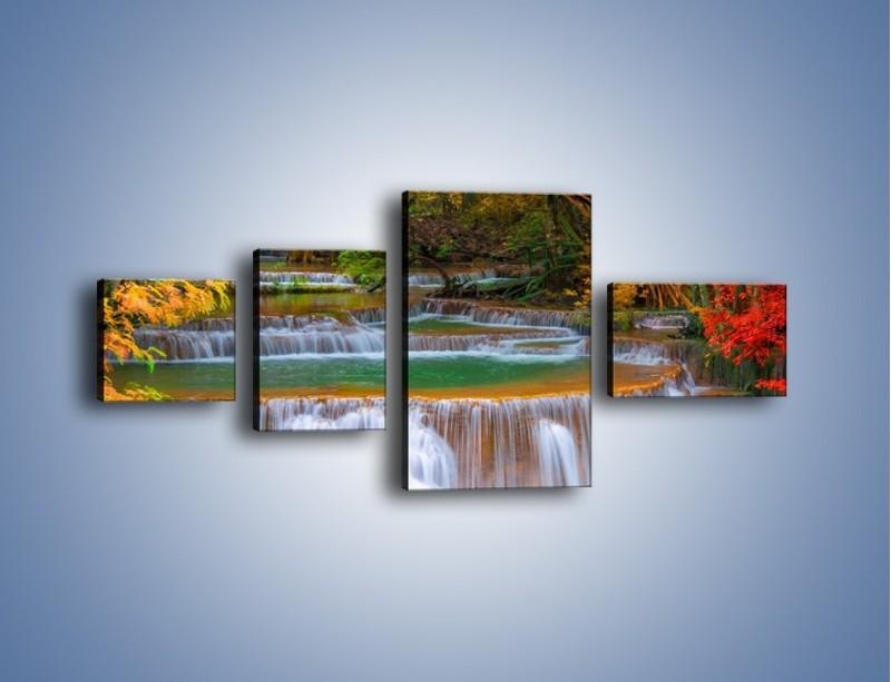 Obraz na płótnie – Schodki z wodospadów – czteroczęściowy KN287W5