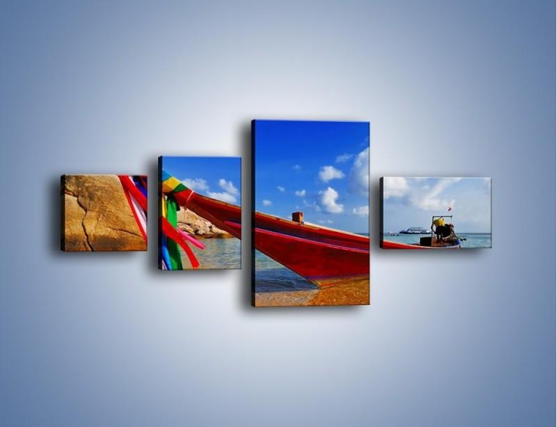 Obraz na płótnie – Kolorowa łódź na brzegu – czteroczęściowy KN415W5