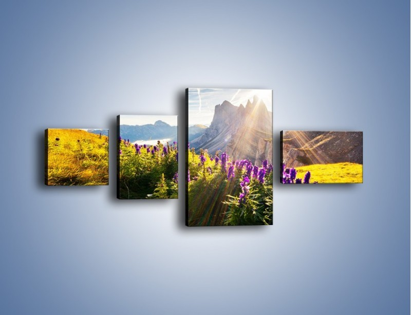 Obraz na płótnie – Góry w poświacie słońca – czteroczęściowy KN502W5