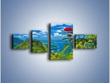 Obraz na płótnie – Bordowe kwiaty w górskim krajobrazie – czteroczęściowy KN561W5