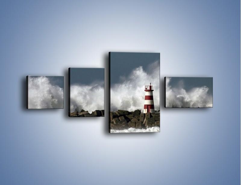 Obraz na płótnie – Latarnia morska w sztormie – czteroczęściowy KN626W5
