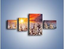Obraz na płótnie – Choinki w środku zimy – czteroczęściowy KN682W5