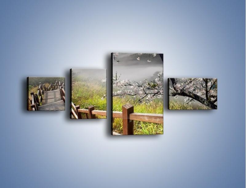 Obraz na płótnie – Drzewo wiśni i kręte schody – czteroczęściowy KN698W5