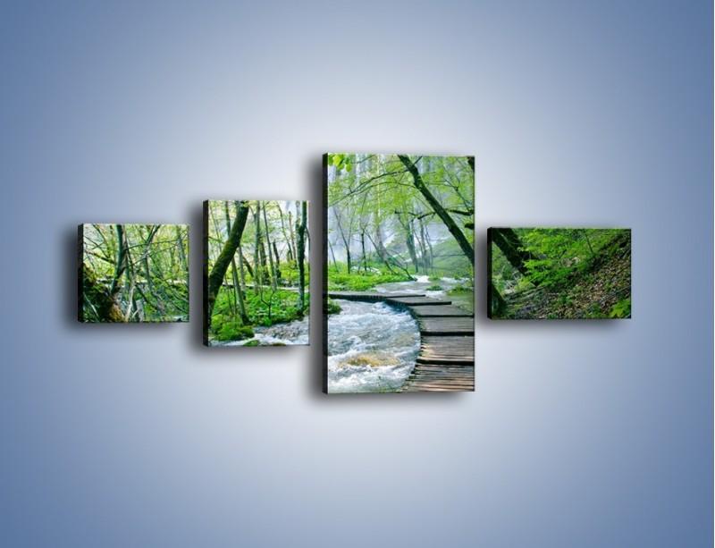 Obraz na płótnie – Drewniana kładką przez potok – czteroczęściowy KN720W5