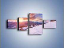 Obraz na płótnie – Chatka w śnieżnym dywanie – czteroczęściowy KN725W5