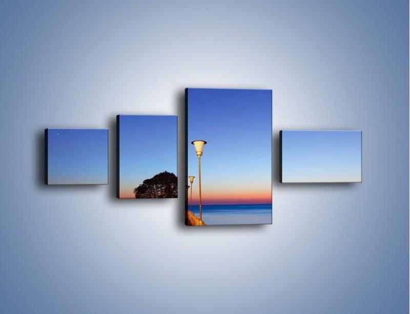 Obraz na płótnie – Wieczorny spacer po tafli morza – czteroczęściowy KN759W5
