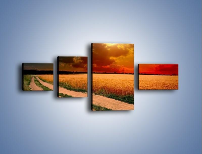 Obraz na płótnie – Zbożowa polana i jej cały urok – czteroczęściowy KN776W5