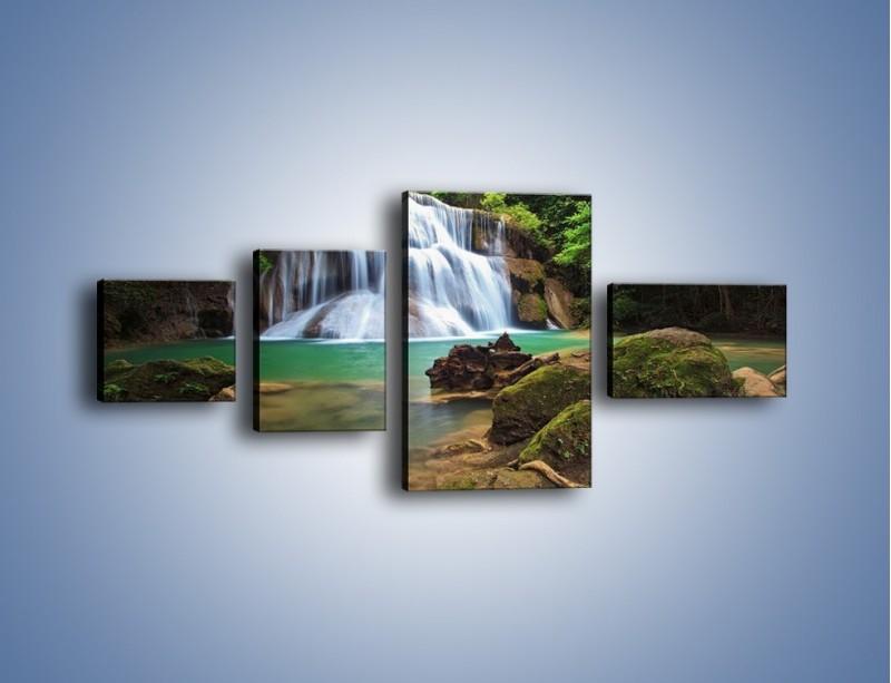 Obraz na płótnie – Drzewa schowane za wodospadem – czteroczęściowy KN792W5