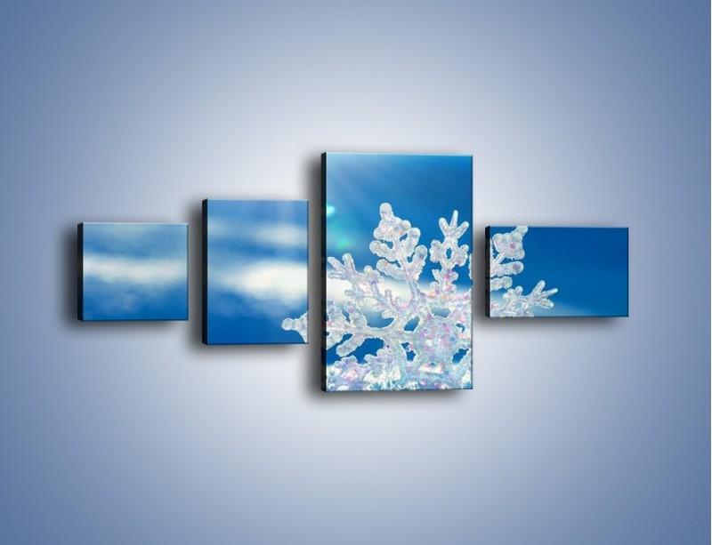 Obraz na płótnie – Diamentowa śnieżynka – czteroczęściowy KN808W5