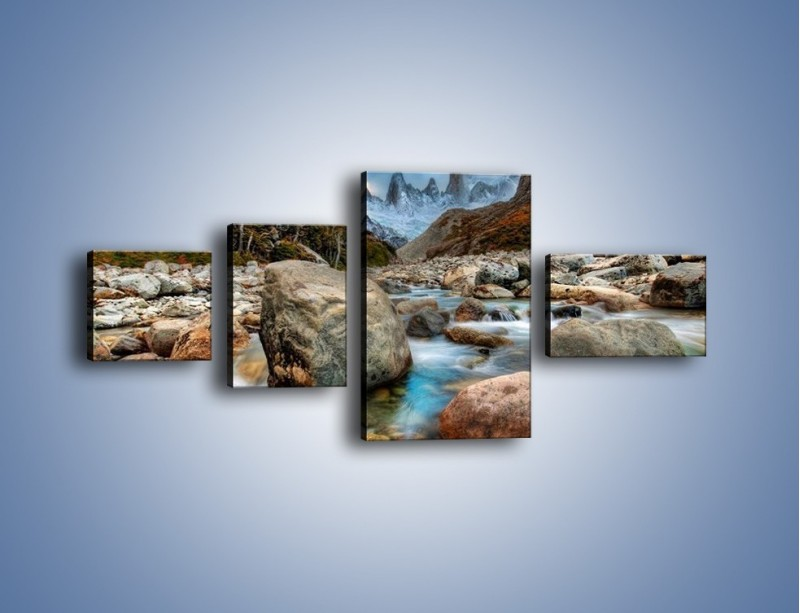 Obraz na płótnie – Niebezpieczny spacer po mokrych kamieniach – czteroczęściowy KN810W5