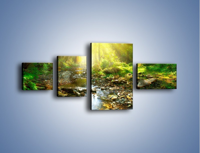 Obraz na płótnie – Kamiennym urwiskiem wśród potoku – czteroczęściowy KN827W5