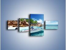 Obraz na płótnie – Błękit w wodzie i niebie – czteroczęściowy KN852W5
