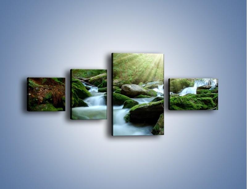 Obraz na płótnie – Silny potok w środku lasu – czteroczęściowy KN861W5