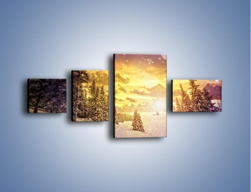 Obraz na płótnie – Śnieżna kraina – czteroczęściowy KN868W5