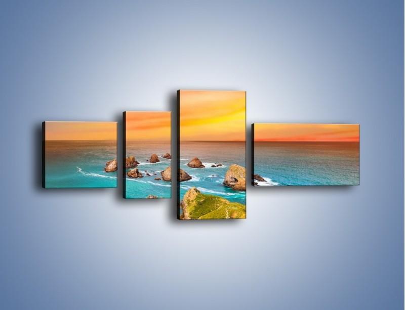 Obraz na płótnie – Kolory rozpalonego nieba nad wodą – czteroczęściowy KN879W5