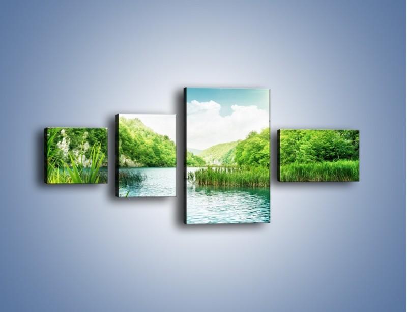 Obraz na płótnie – Wodnym śladem wśród zieleni – czteroczęściowy KN884W5