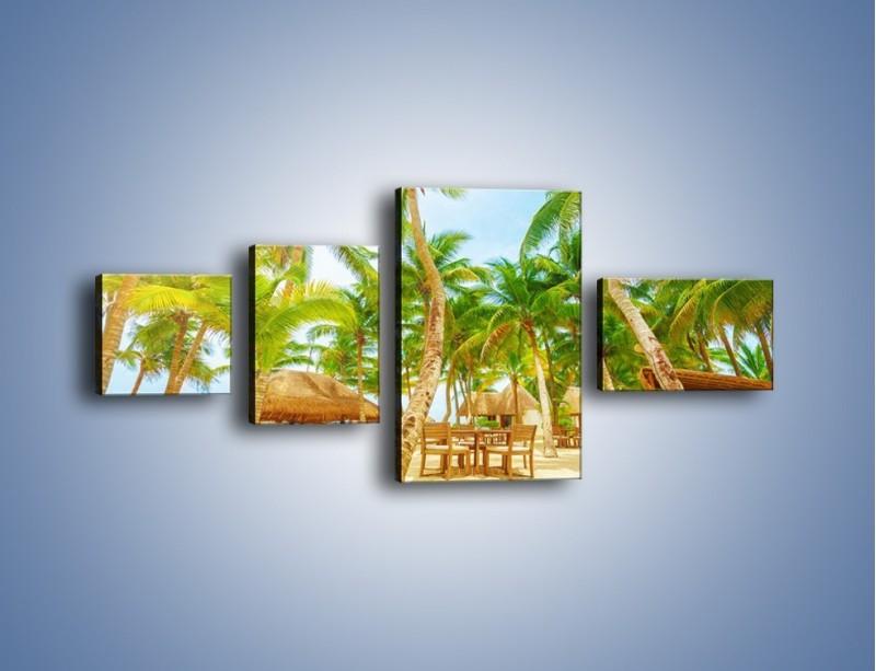 Obraz na płótnie – Słoneczna sjesta pod palmami – czteroczęściowy KN886W5
