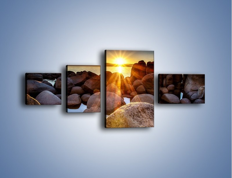 Obraz na płótnie – Kamienna wyspa w słońcu – czteroczęściowy KN888W5